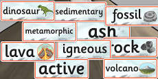 Rocks, Volcanoes and Fossils Word Cards