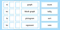 Year 2 Maths Vocabulary Word Cards Organising and Using Data