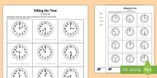 O' Clock and Half Past Times Activity Sheet English/Mandarin Chinese