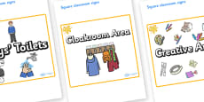 Orange Themed Editable Square Classroom Area Signs (Plain)