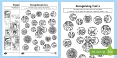 Recognising Coins and Notes Colouring Pages