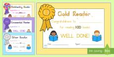 Editable Book Reading Certificates - Australia
