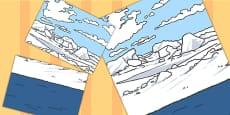 Polar Land Sea And Sky Landscape Background