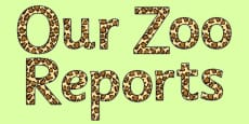 Our Zoo Reports - Display Lettering
