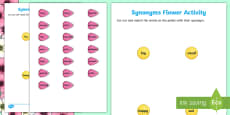 Synonym Flower Activity Sheet