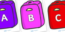 A-Z Alphabet on Suitcases