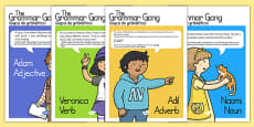 Grammar Gang Character Display Posters Romanian Translation