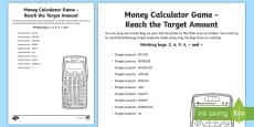 Money Calculator Game Reach the Target Amount Activity Sheet