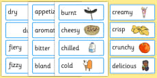 Food Adjectives Word Cards with Pictures