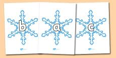 A-Z Alphabet on Snowflakes