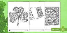 Adult Colouring Mindfulness St Patrick's Day Shamrock Sheet