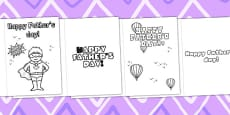 Father's Day Card Templates Colouring