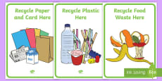 Classroom Recycling Bin Posters Labels (Australia)
