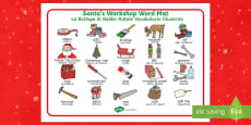 Santa's Workshop Word Mat Italian Translation English/Italian