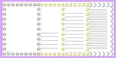 Stars and Moon Night Time Portrait Page Borders