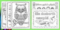 Back to School Themed Mindfulness Colouring Welsh