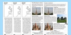 Europe Comprehension Landmarks Activity Sheets English/Polish
