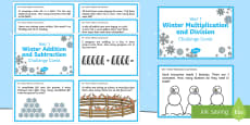 Year 1 Winter Themed Maths Challenge Cards