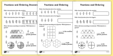Fractions and Ordering Worksheet Differentiated