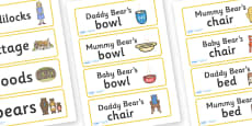 Three Bears Cottage Word Cards
