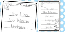 Australia - The Lion and the Mouse Trace the Words Worksheets
