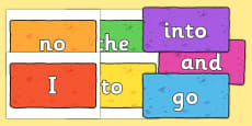 Phase 2 Tricky Words on Multicoloured Bricks