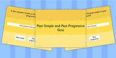 Identifying Whether a Sentence is in the Past Simple or Past Progressive Continuous PowerPoint Quiz