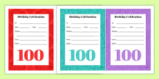 100th Birthday Party Invitations