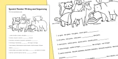 Spanish Numbers 1-10 Sequencing Worksheet