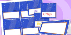 Space Themed Birthday Party Editable Food Labels