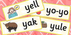 Initial y Sound Word Cards