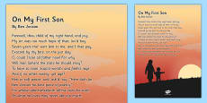 'On My First Son' by Ben Jonson Poem Poster