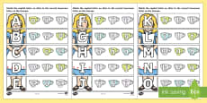 Alice in Wonderland Themed Capital Letter Matching Activity Sheet