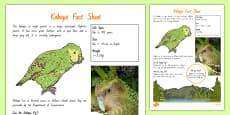 New Zealand Native Birds Kakapo Fact Sheet
