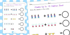 Aladdin Up to 10 Addition Sheet (Australia)