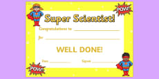 Super Scientist Award Certificate