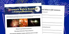 Bonfire Night Safety Differentiated Reading Comprehension
