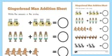 The Gingerbread Man Addition Sheet