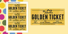 Role Play Golden Tickets to Support Teaching on Willy Wonka's Chocolate Factory