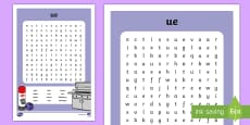 'ue' Digraph Differentiated Word Search