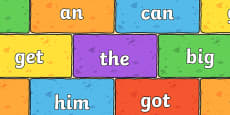 Phase 2 High Frequency Words on Multicoloured Bricks