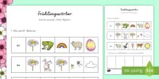 Frühlingswörter - finde den passenden Artikel (Begleiter) Arbeitsblatt: Lesen und Malen