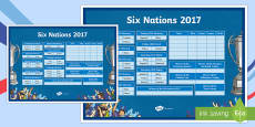 Six Nations Rugby Championship 2017 Wall Display Chart