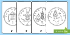 British (UK) Coins Colouring Sheets