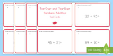 Common Core First Grade Math NBT C 4 Two-Digit Plus Two-Digit Addition Task Cards
