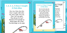 1, 2, 3, 4, 5, Once I Caught a Fish Alive Nursery Rhyme Poster