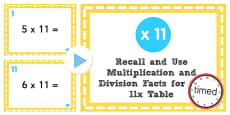Multiplication and Division Facts for the 11 Times Table PowerPoint Test