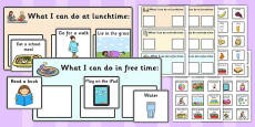 Lunchtime Breaktime and Free Time Support Timetable