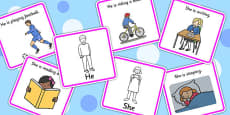 He And She Pronoun Picture Cards With Answers