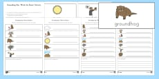 Groundhog Day 'Write the Room' Differentiated Word and Picture Matching Activity Sheet - USA